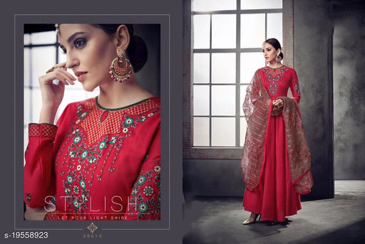 Pink Maslin Party Wear Gown With Bottom Fabric And Dupatta By Suryavansi Creation 39010XL