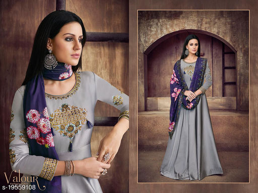 Grey Tapeta Silk Party Wear Gown With Bottom Fabric And Dupatta By Suryavansi Creation 39005L