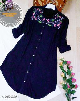 Women's Embroidered Navy Blue Rayon Top