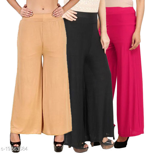 Lets Shine stylish casual wear palazzo pant for females,Beige,Black & Pink Color Free Size (Combo Pack of 3)