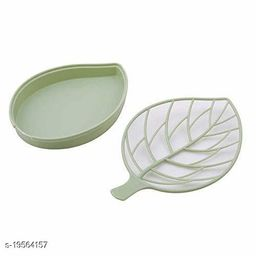 Leaf Shape Designer Soap Tray   Drip Soap Box with Water Draining Tray,Green (Plastic)