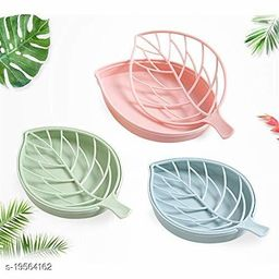 Leaf Shape Designer Soap Tray   Drip Soap Box with Water Draining Tray, Pack of 3 (Plastic)