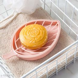 Leaf Shape Designer Soap Tray   Drip Soap Box with Water Draining Tray,Pink (Plastic)