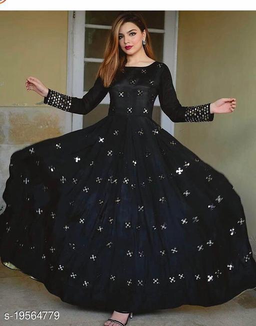 designer embroidred mirror work gown