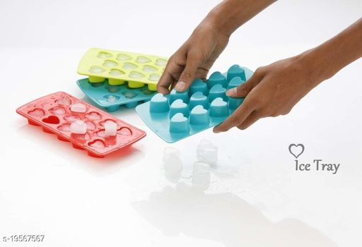 14 Grid (set of 3) Heart Shape Ice Cube Tray, Chocolate Mould Refrigerator Ice Cube for Cocktail, Whiskey, Fruit Juice, Soft Drink (Multi Color)