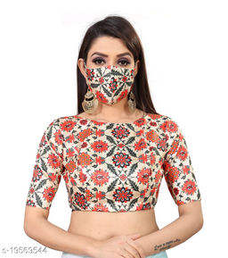 Women's Multi Digital Printed Saree Blouse with Boat Neck with (Complimentary Face Mask)