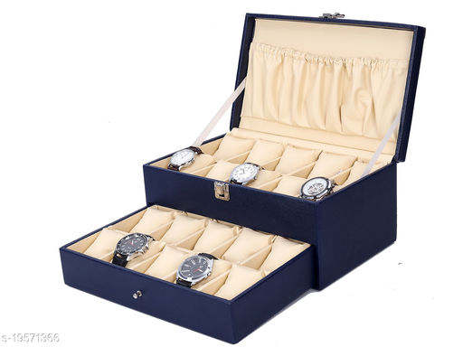 Best Storage Watch Box Organizer   Smart Watch Holder   Watch Display  Gift Box of Faux Leather for 20 watch Slots
