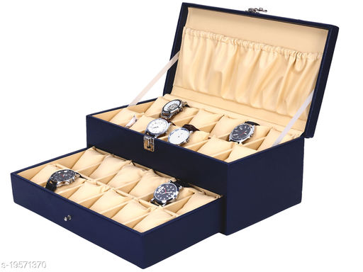 Best Storage Watch Box Organizer   Smart Watch Holder   Watch Display  Gift Box of Faux Leather for 24 watch Slots