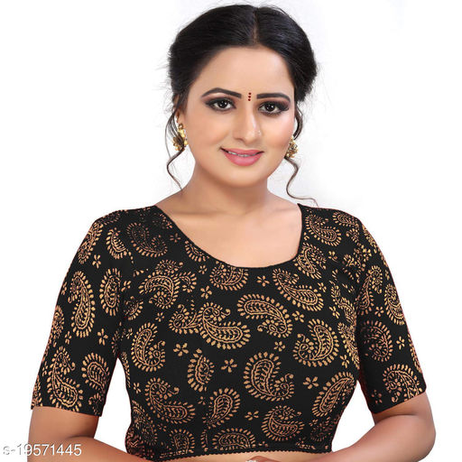 PU Designer Stretchable Jacquard Lycra readymade Blouse  - Partywear collections