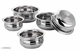 Stainless Steel urli Bottom Cooking Serving Pot Biryani Handi Punjabi Handi - 5 Pcs Set