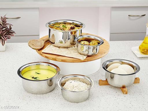 Stainless Steel 5 Pcs Patila Set/Tope/Cookware Set with Lids (Capacity: 2 L, 1.5 L, 1.25 L, 1L, 0.750 L), 22 Guage Induction & Gas Stove Friendly 5 Pcs Set
