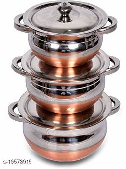 Stainless Steel Copper Bottom Kitchen Serving 1300 ML, 1700 ML, 2100 ML Cooking Bowl, with Lids | Handi t Set 3 Pieces Handi with Lids | Biryani Handi with LIds & Handle