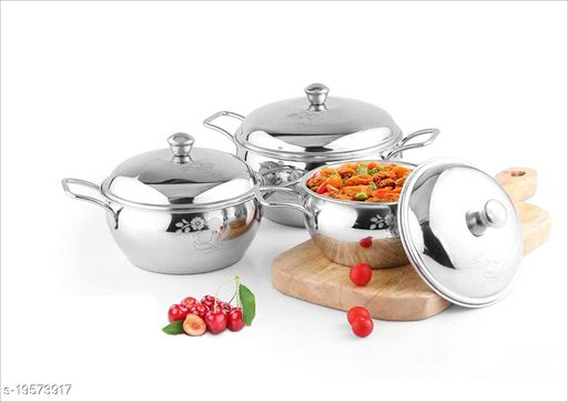 Premium Mirror Finish Stainless Steel Set of 3 Tomato Handi with Good Silver Design, Pot and Pan Set with lid, Kitchen Set Combo, Tapeli/Serving Set for Kitchen (900 ml, 1200 ml & 2000 ml)