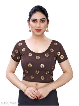 Lycra Embroidered Brown Free Size Blouse