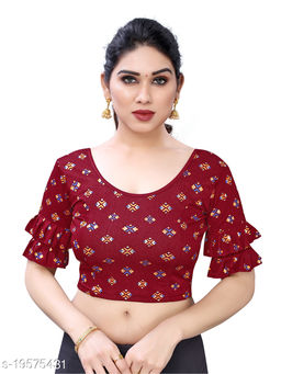 Lycra Printed Maroon Free Size Blouse