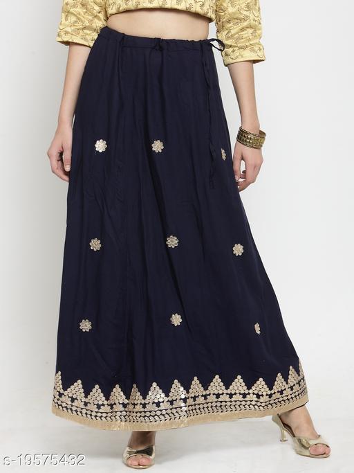 Clora Navy Blue Gotta Patti Rayon Skirt