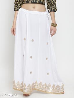 Clora White Gotta Patti Rayon Skirt