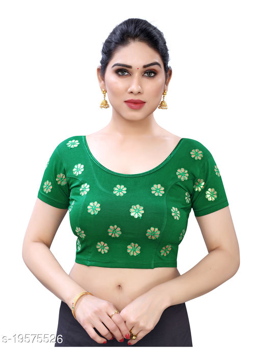 Lycra Embroidered Green Free Size Blouse