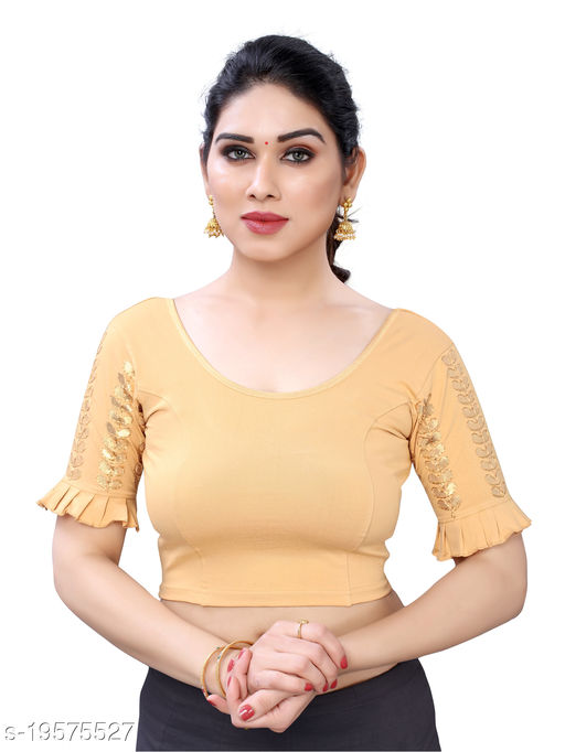 Lycra Embroidered Cream Free Size Blouse