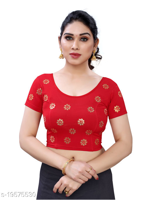 Lycra Embroidered Red Free Size Blouse