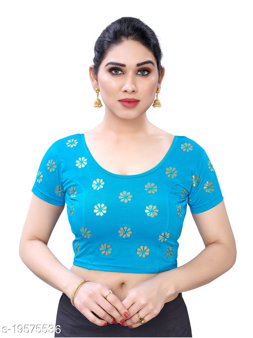 Lycra Embroidered Blue Free Size Blouse