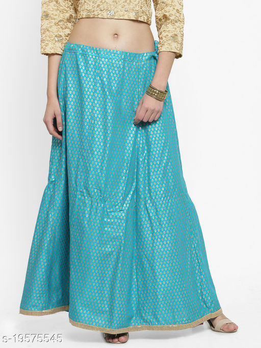 Clora Turquoise Printed Rayon Maxi Skirt