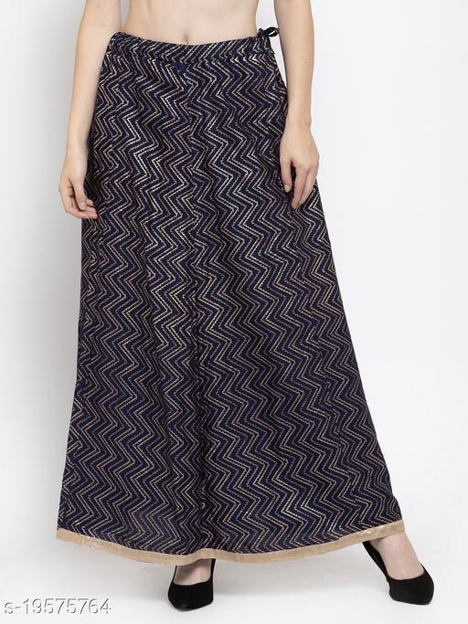 Clora Navy Blue Zigzag Printed Flared Maxi Skirt