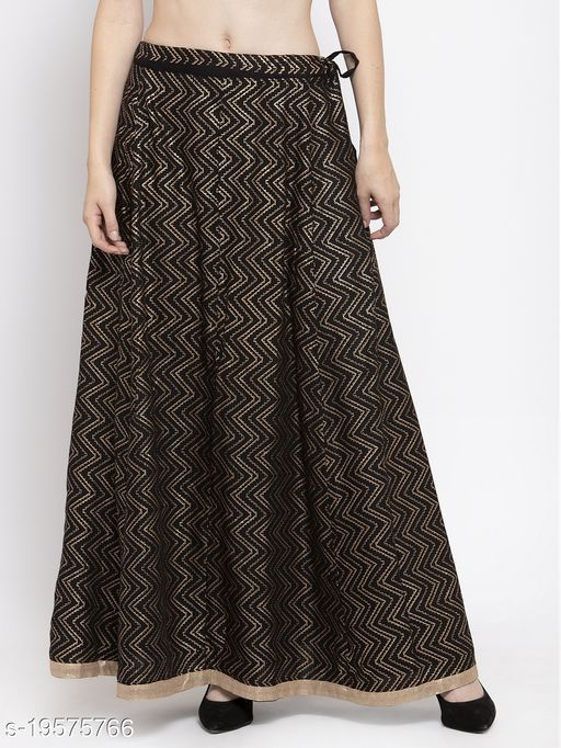 Clora Black Zigzag Printed Flared Maxi Skirt