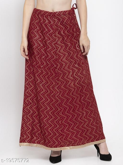 Clora Maroon Zigzag Printed Flared Maxi Skirt