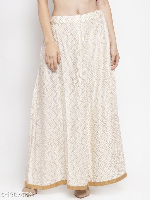 Clora Off-White Zigzag Printed Flared Maxi Skirt