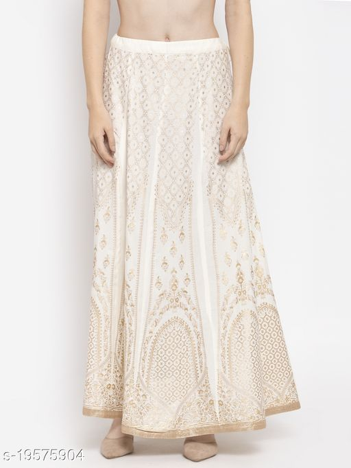 Clora Cream Printed Flared Rayon Maxi Skirt