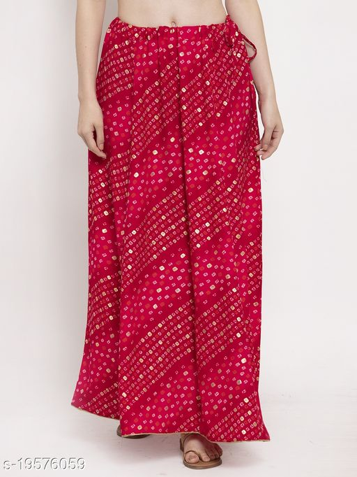 Clora Magenta Bandhani Print Rayon Skirt