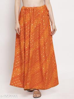 Clora Orange Bandhani Print Rayon Skirt