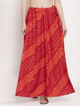 Clora Red Bandhani Print Rayon Skirt