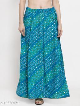 Clora Blue Bandhani Print Rayon Skirt