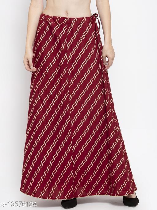 Clora Maroon Printed Flared Rayon Maxi Skirt