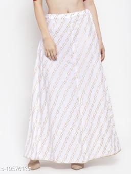 Clora White Printed Flared Rayon Maxi Skirt