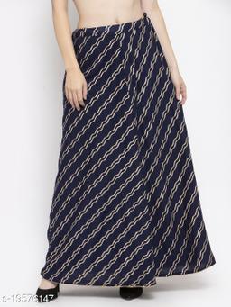 Clora Navy Blue Printed Flared Rayon Maxi Skirt