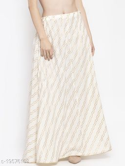 Clora Off-White Printed Flared Rayon Maxi Skirt