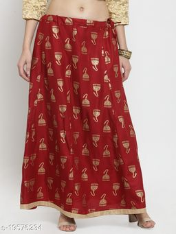 Clora Maroon Printed Maxi Skirt