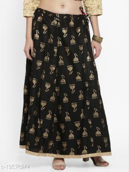 Clora Black Printed Maxi Skirt