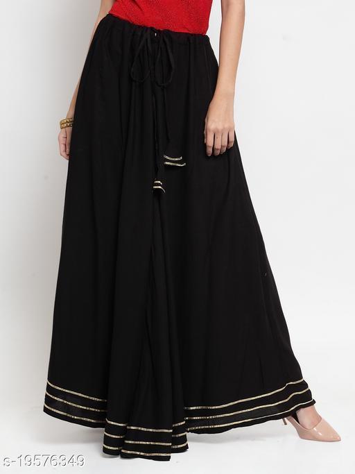 Clora Black Gotta Patti Solid Rayon Skirt
