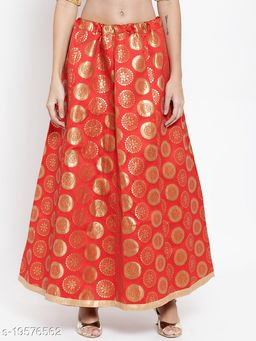 Clora Red Banarsi Silk Skirt