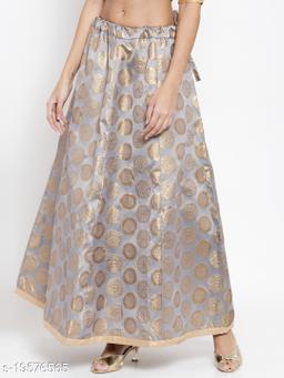 Clora Grey Banarsi Silk Skirt