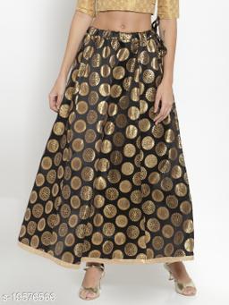 Clora Black Banarsi Silk Skirt