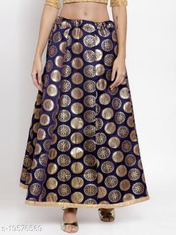 Clora Royal Blue Banarsi Silk Skirt