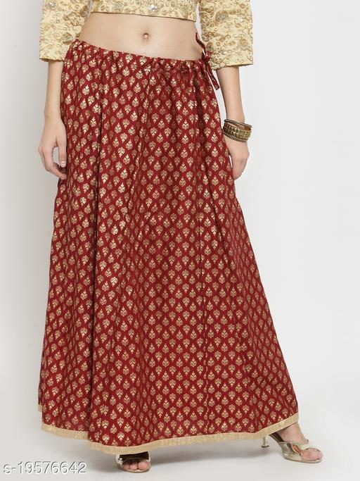 Clora Maroon Printed Rayon Flared Skirt