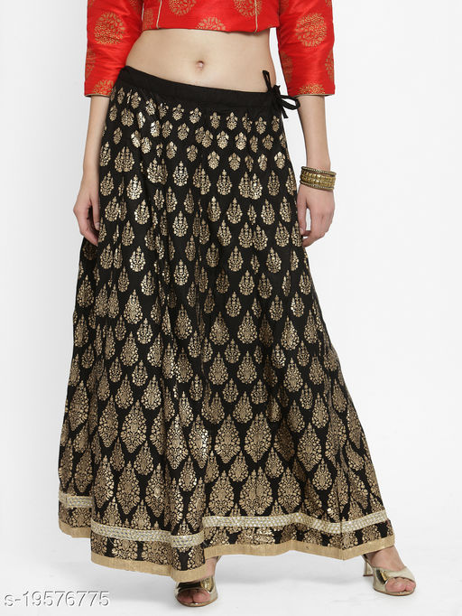 Clora Black Printed Flared Skirt