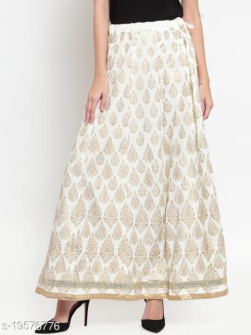 Clora Cream Embellished Rayon Flared Skirt