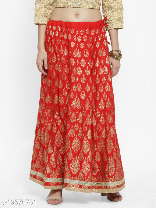Clora Red Printed Flared Skirt